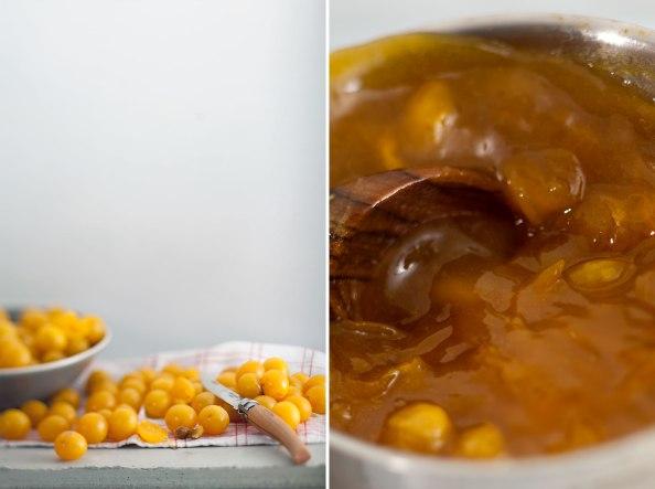 Mirabellen mit Messer, Marmelade im Topf