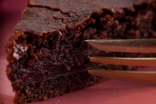 gefüllter Schokoladenkuchen, Close up